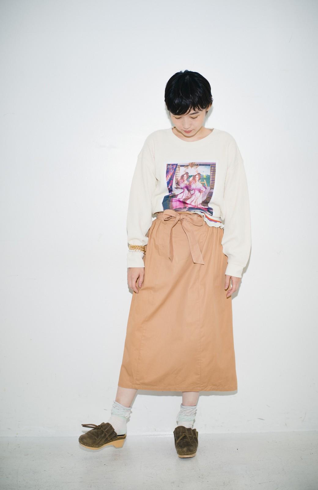 haco! haco! × RBTXCO後ろ姿にトキメキ 箔プリントとヒョウ柄ゴムのウエストリボンスカート <ベージュ>の商品写真12