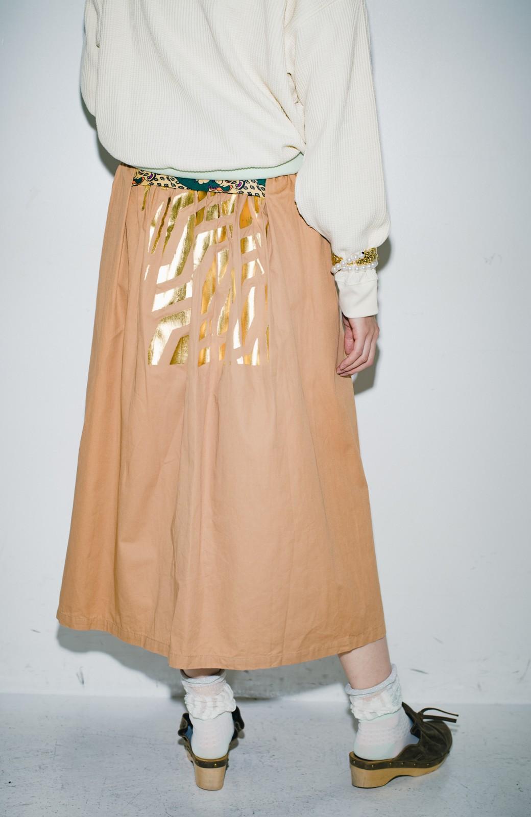 haco! haco! × RBTXCO後ろ姿にトキメキ 箔プリントとヒョウ柄ゴムのウエストリボンスカート <ベージュ>の商品写真13