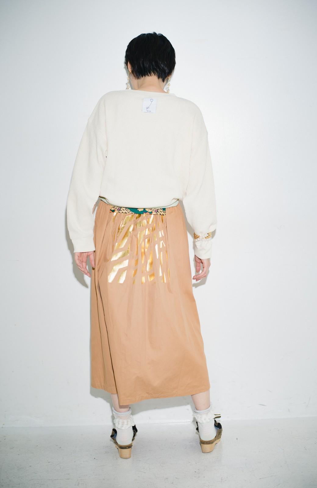 haco! haco! × RBTXCO後ろ姿にトキメキ 箔プリントとヒョウ柄ゴムのウエストリボンスカート <ベージュ>の商品写真14