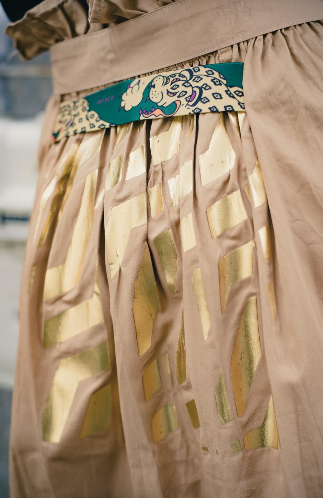 haco! haco! × RBTXCO後ろ姿にトキメキ 箔プリントとヒョウ柄ゴムのウエストリボンスカート <ベージュ>の商品写真3