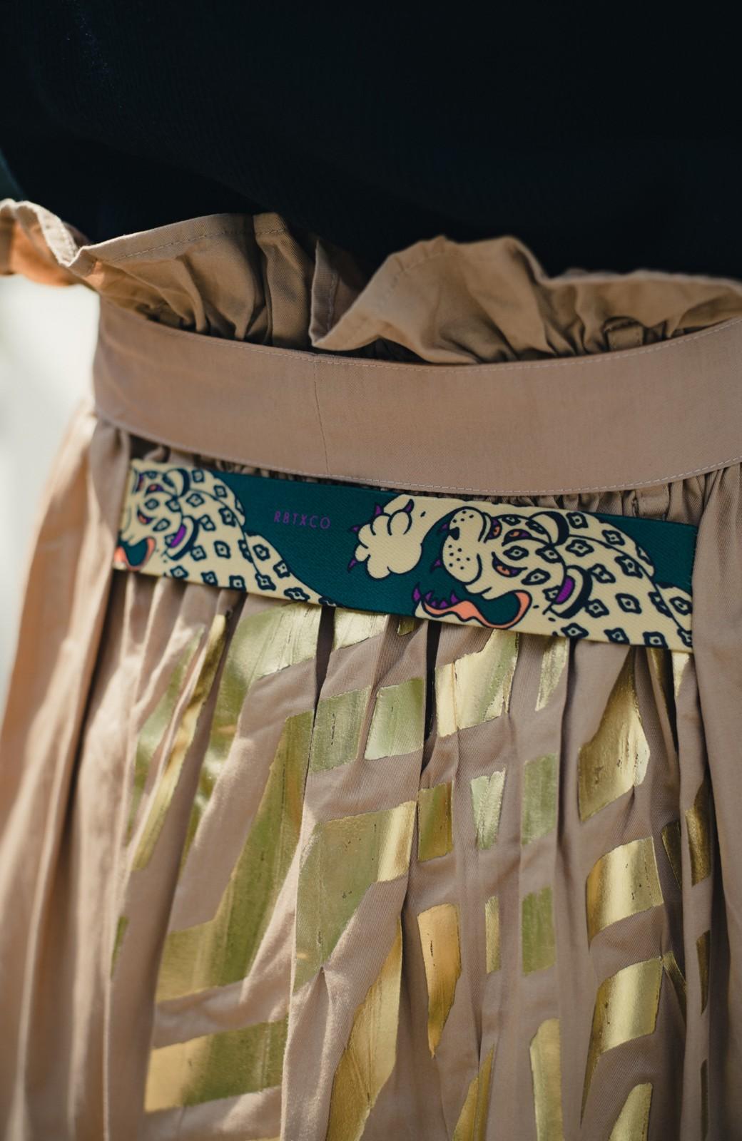 haco! haco! × RBTXCO後ろ姿にトキメキ 箔プリントとヒョウ柄ゴムのウエストリボンスカート <ベージュ>の商品写真4