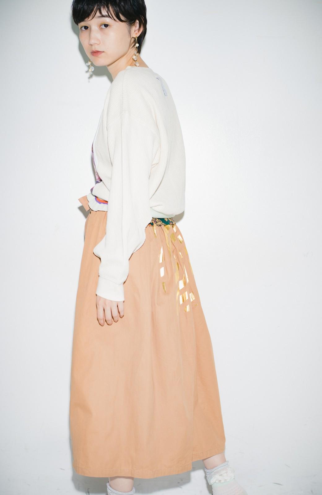 haco! haco! × RBTXCO後ろ姿にトキメキ 箔プリントとヒョウ柄ゴムのウエストリボンスカート <ベージュ>の商品写真8
