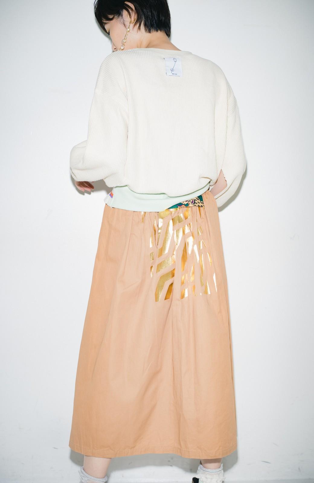 haco! haco! × RBTXCO後ろ姿にトキメキ 箔プリントとヒョウ柄ゴムのウエストリボンスカート <ベージュ>の商品写真9