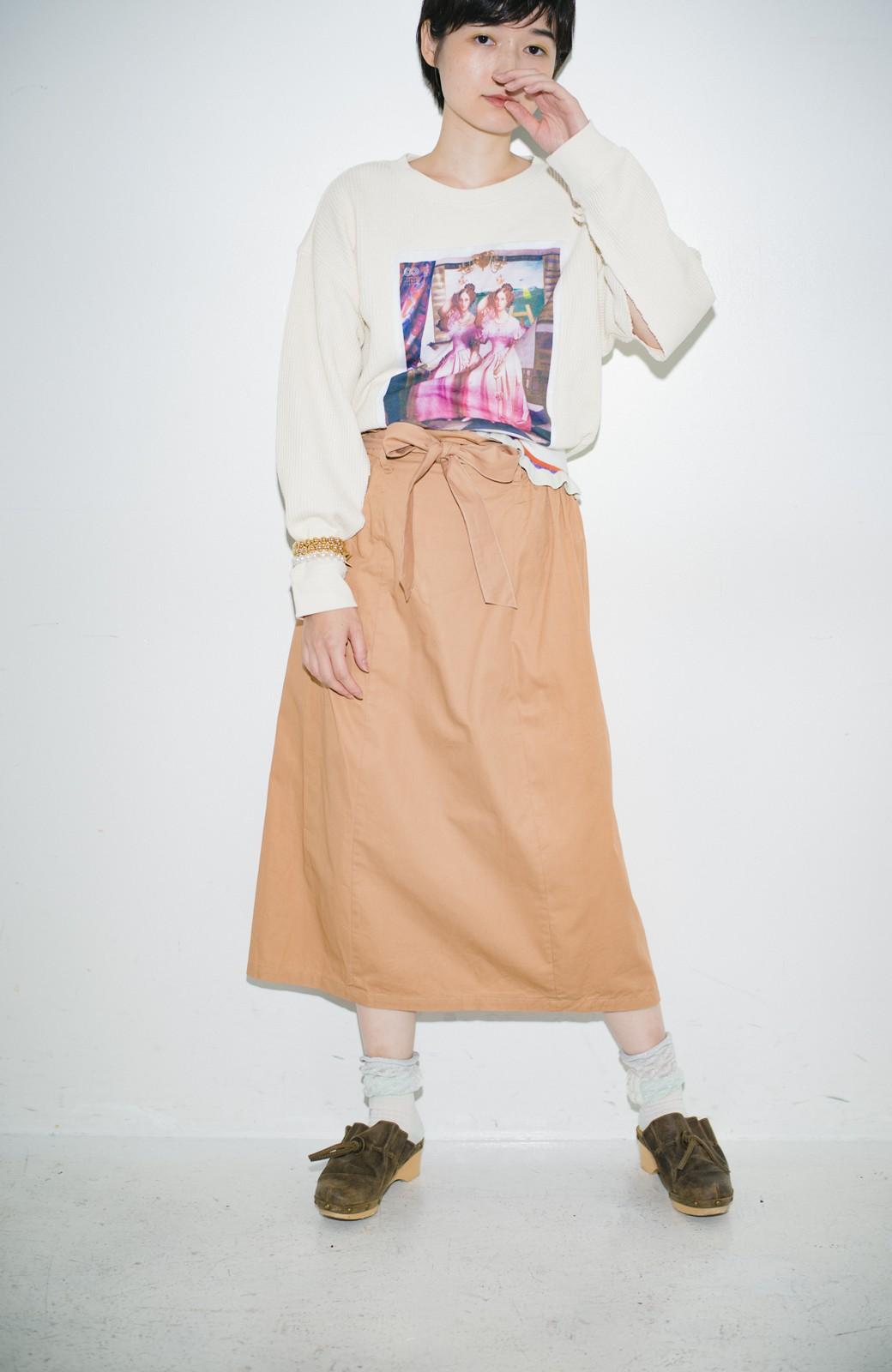 haco! haco! × RBTXCO後ろ姿にトキメキ 箔プリントとヒョウ柄ゴムのウエストリボンスカート <ベージュ>の商品写真10