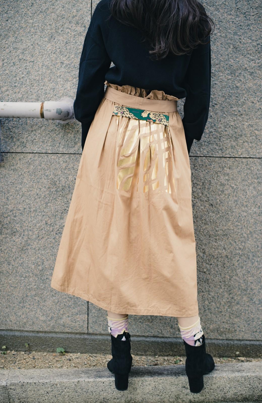 haco! haco! × RBTXCO後ろ姿にトキメキ 箔プリントとヒョウ柄ゴムのウエストリボンスカート <ベージュ>の商品写真1