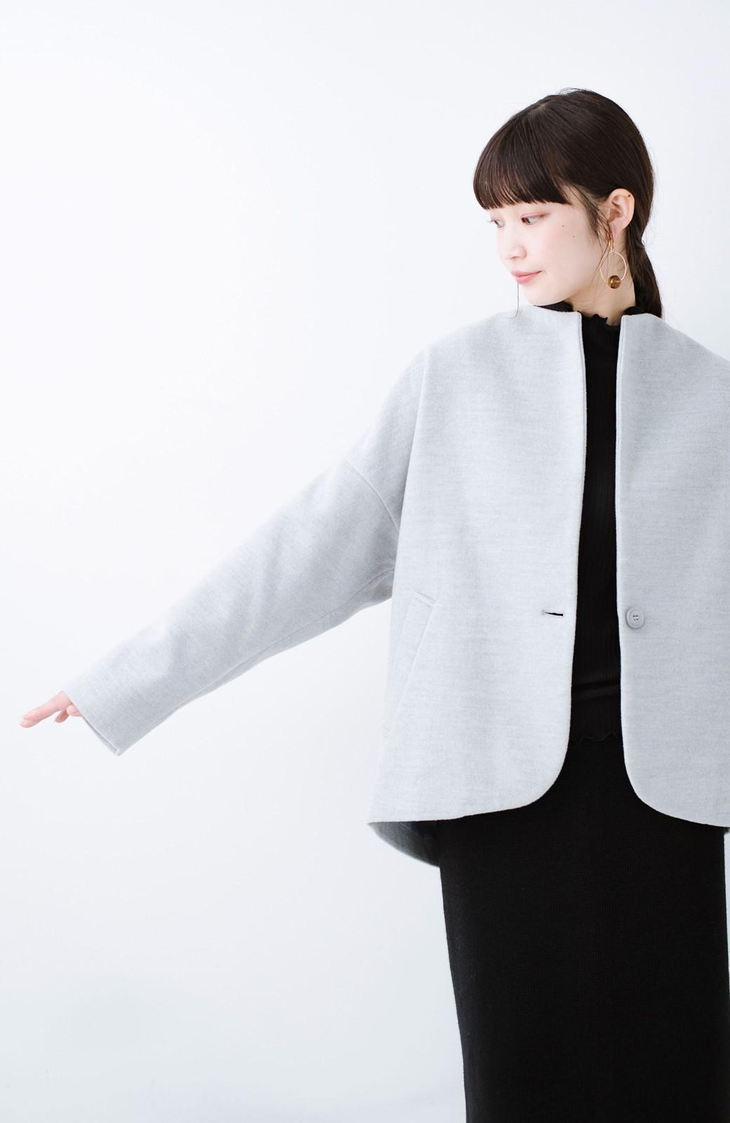 haco! インにどんなニットも着られるゆるシルエットのショート丈コート <グレー>の商品写真16