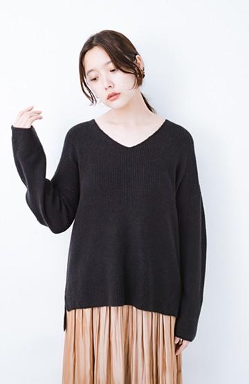 haco!  パッと着てさりげなく女っぽい 便利なシンプルVネックニット <ブラック>の商品写真