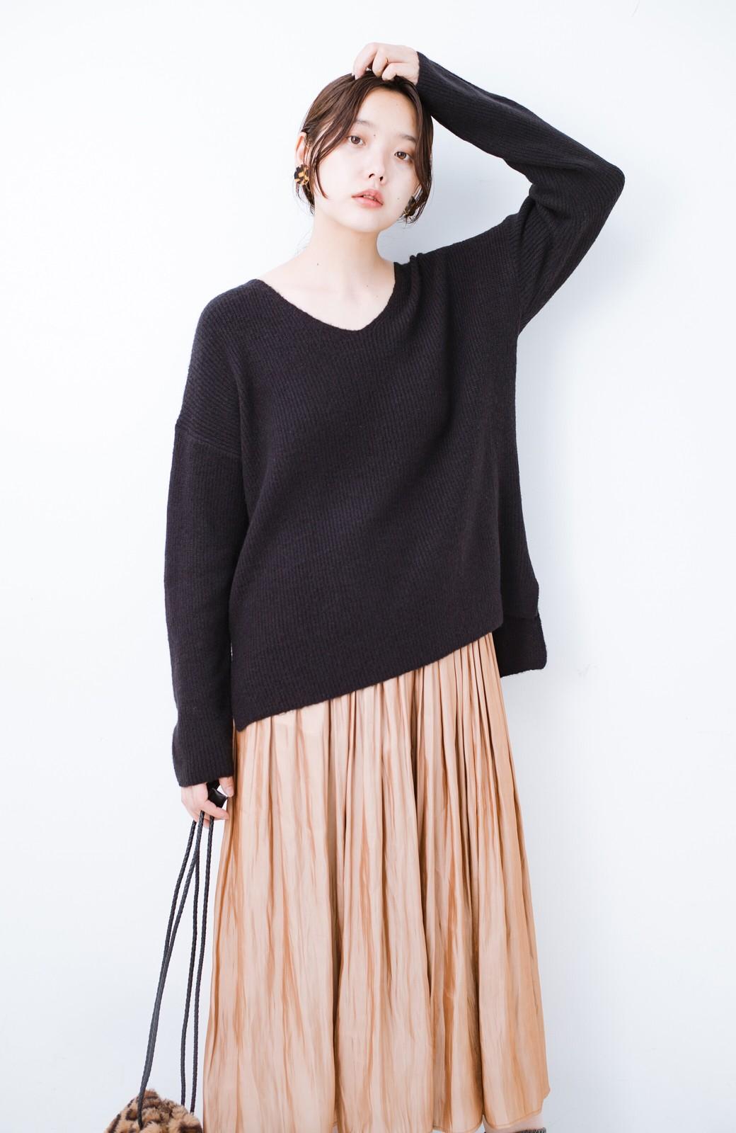 haco!  パッと着てさりげなく女っぽい 便利なシンプルVネックニット <ブラック>の商品写真12