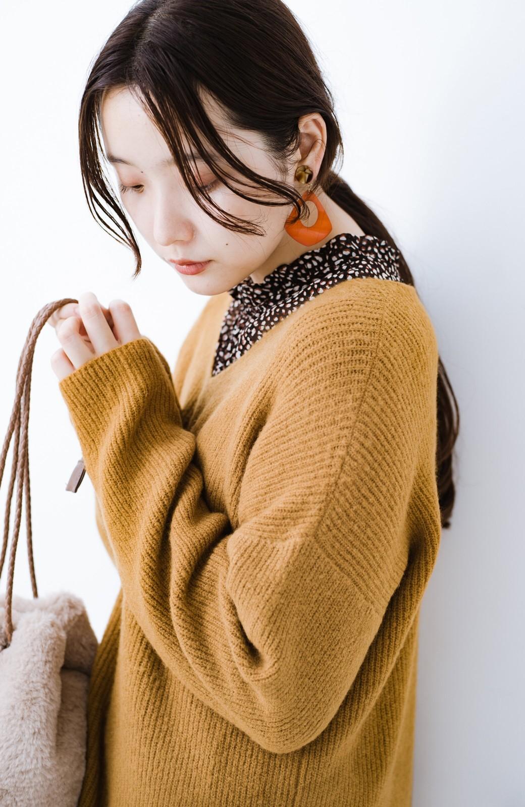 haco!  パッと着てさりげなく女っぽい 便利なシンプルVネックニット <キャメル>の商品写真4