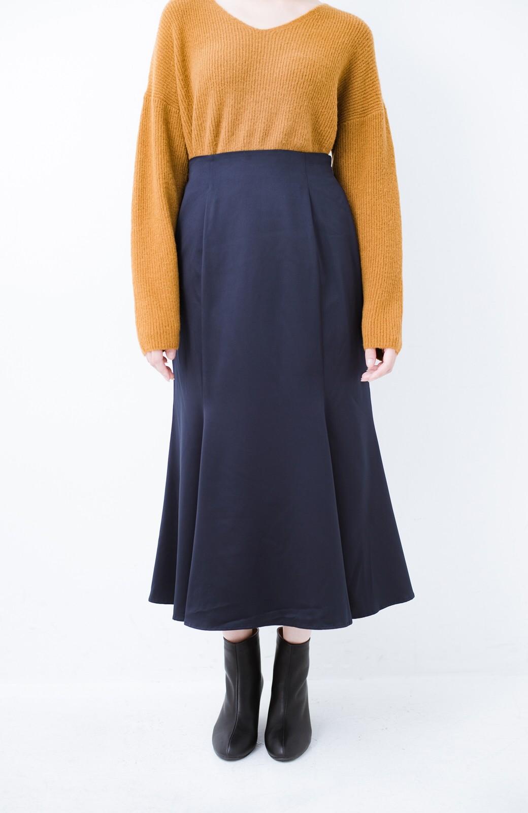 haco! スウェットやスニーカーを合わせても女っぽくいられるサテンマーメイドスカート by que made me <ネイビー>の商品写真5