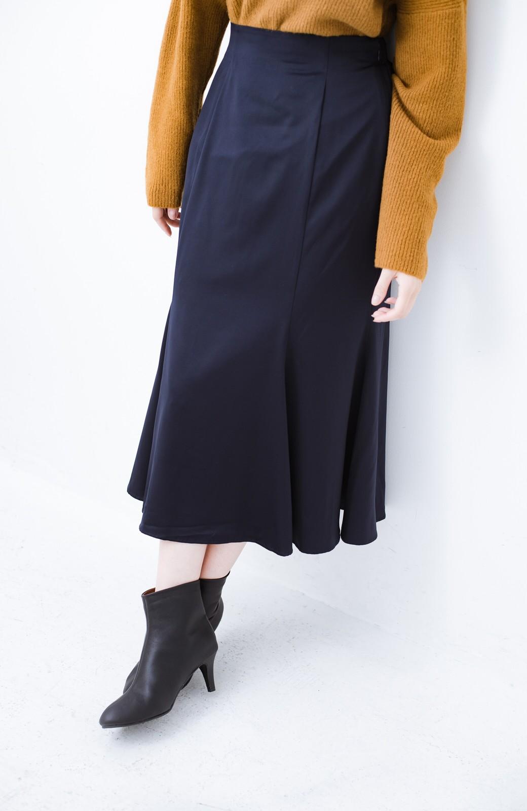 haco! スウェットやスニーカーを合わせても女っぽくいられるサテンマーメイドスカート by que made me <ネイビー>の商品写真6