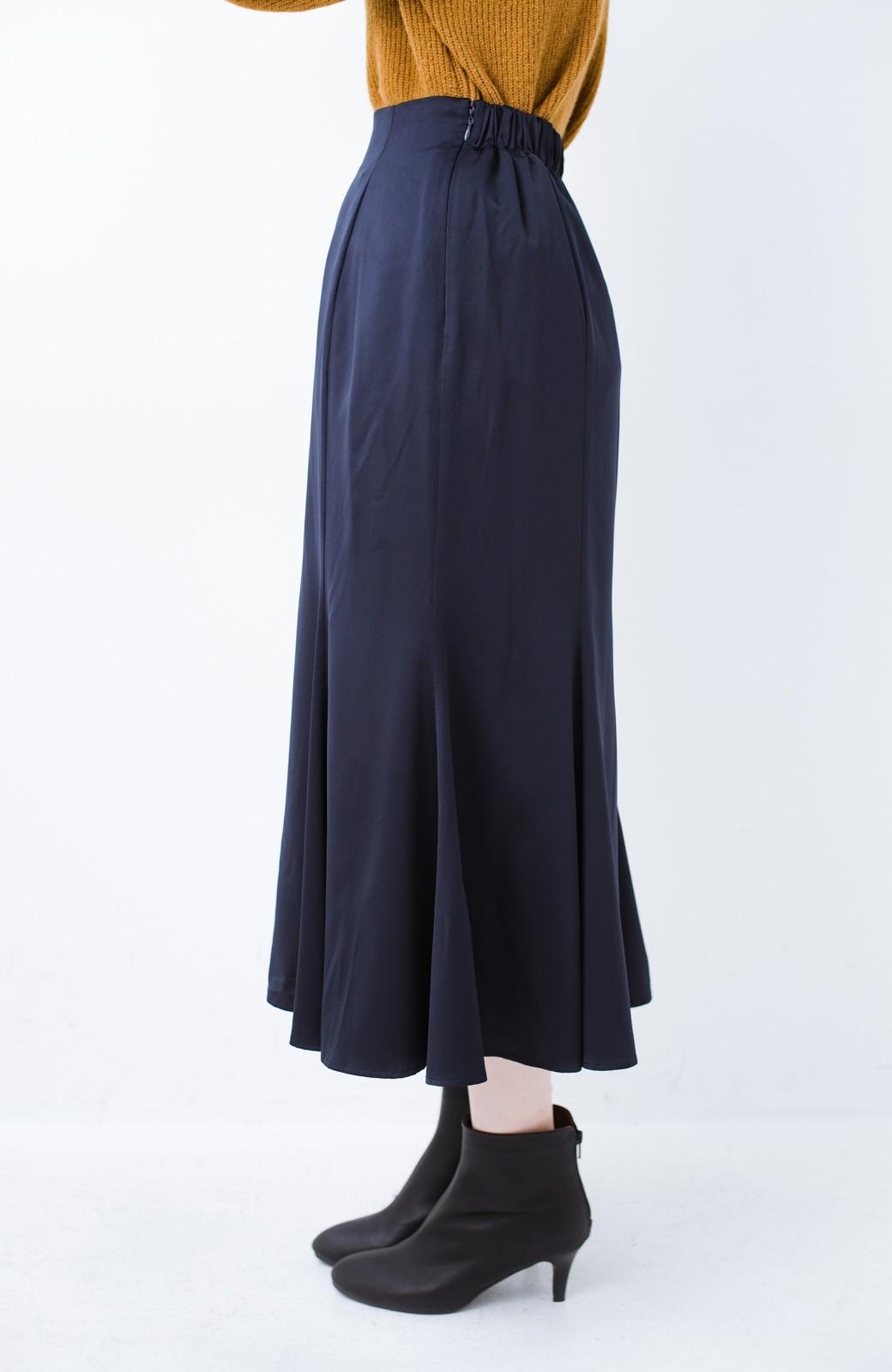 haco! スウェットやスニーカーを合わせても女っぽくいられるサテンマーメイドスカート by que made me <ネイビー>の商品写真13