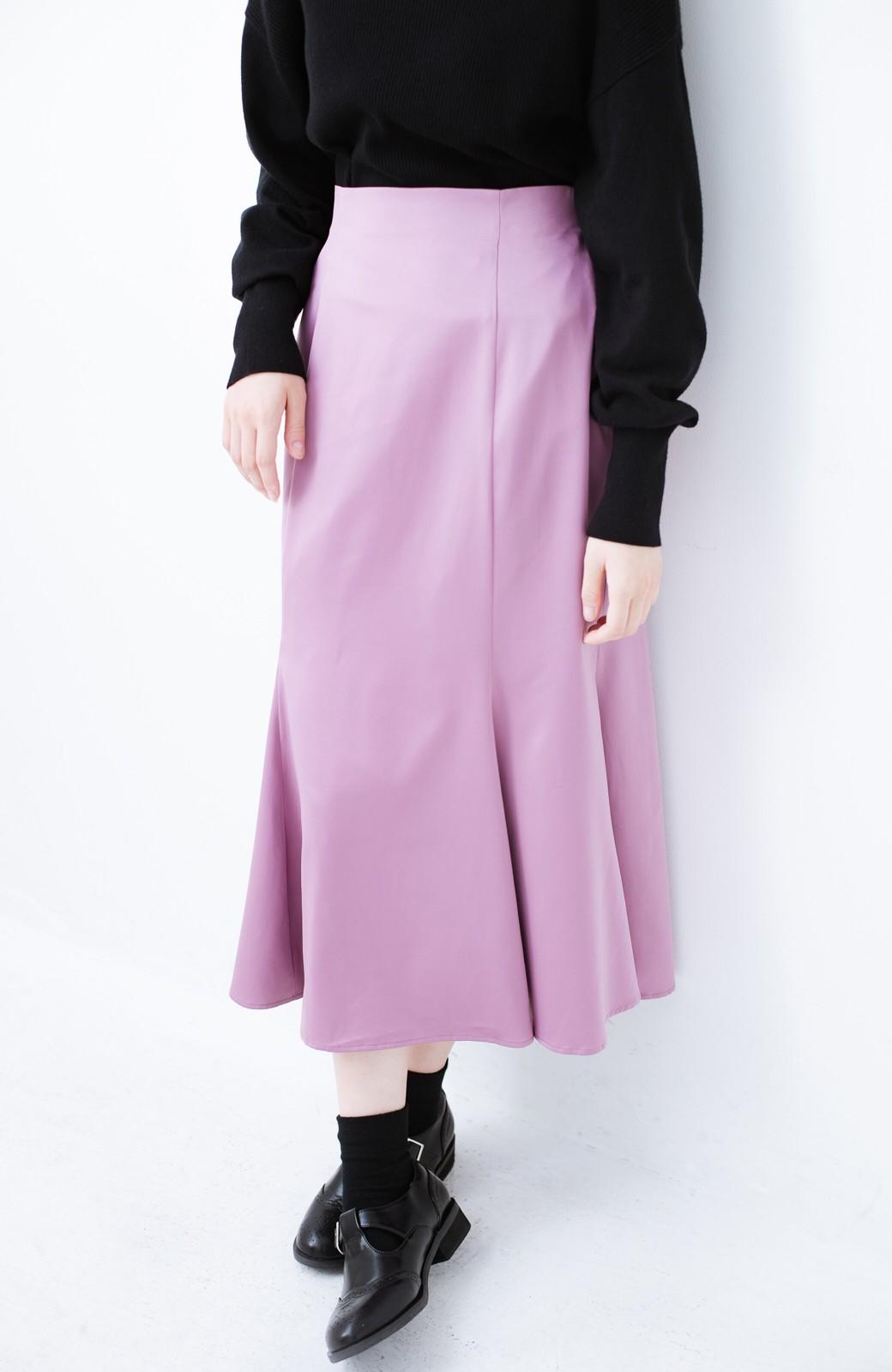 haco! スウェットやスニーカーを合わせても女っぽくいられるサテンマーメイドスカート by que made me <ピンク>の商品写真5