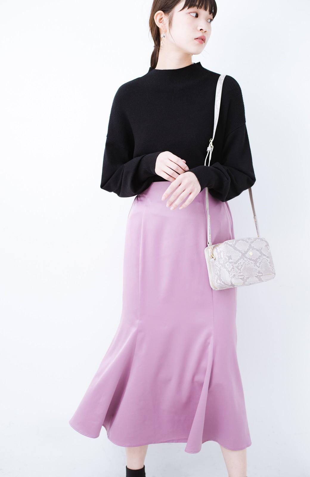 haco! スウェットやスニーカーを合わせても女っぽくいられるサテンマーメイドスカート by que made me <ピンク>の商品写真1