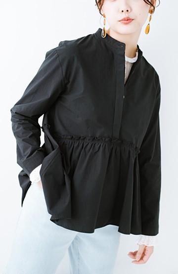 haco! かわいげもきちんとも叶えてくれて こっそり体形カバーもできちゃうチュニックブラウス <ブラック>の商品写真