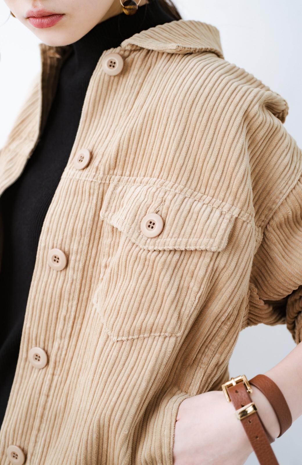 haco! パッと羽織って今っぽオシャレに見える コーデュロイジャケット <ベージュ>の商品写真7
