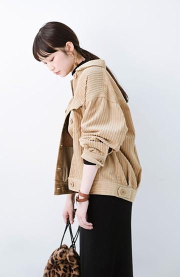 haco! パッと羽織って今っぽオシャレに見える コーデュロイジャケット <ベージュ>の商品写真