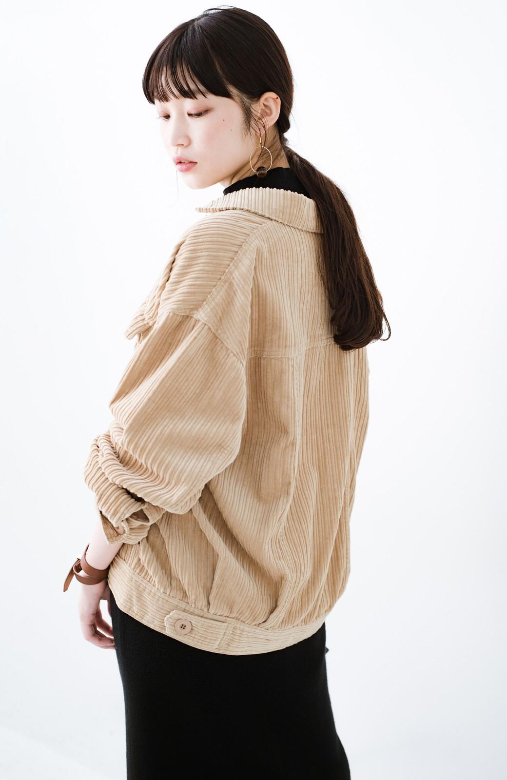 haco! パッと羽織って今っぽオシャレに見える コーデュロイジャケット <ベージュ>の商品写真18