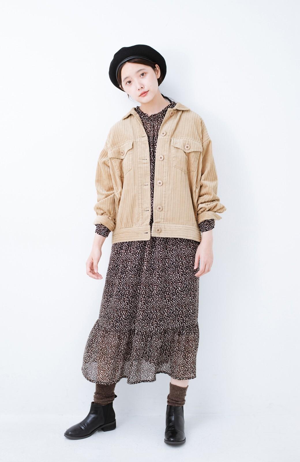 haco! パッと羽織って今っぽオシャレに見える コーデュロイジャケット <ベージュ>の商品写真5