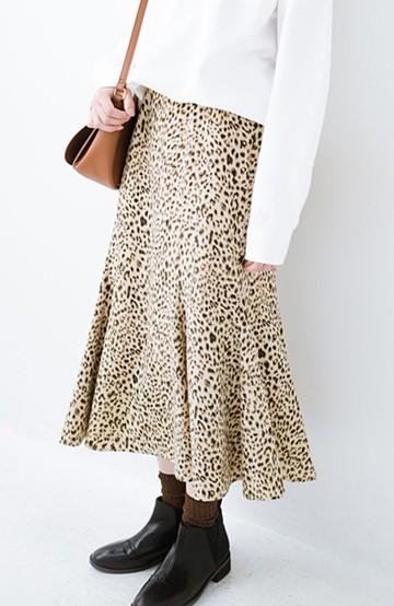 haco! スウェットやスニーカーを合わせても女っぽくいられるサテンマーメイドスカート by que made me <レオパード>の商品写真