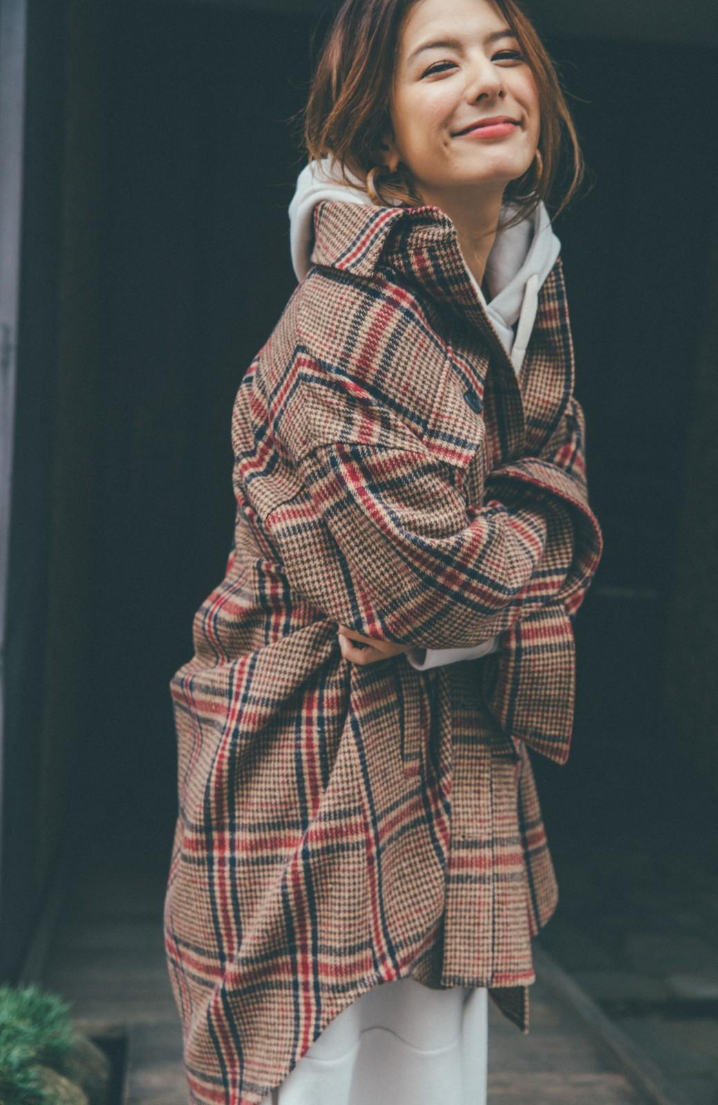 haco! 【スザンヌさんコラボ】ビッグシルエットのタータンチェックジャケット by LOVE&PEACE PROJECT <ベージュ系その他>の商品写真12