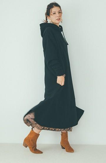 haco! 【スザンヌさんコラボ】ペプラムシルエットのスウェットパーカーワンピース by LOVE&PEACE PROJECT <ブラック>の商品写真