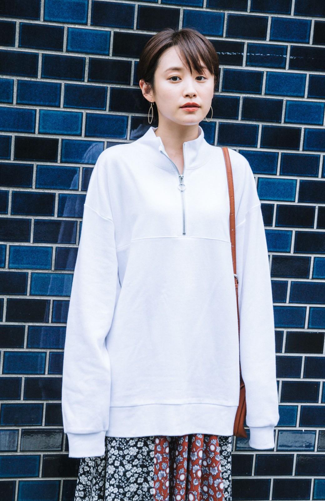 haco! 【高橋愛さんコラボ】スタンドカラーのアノラックスウェットトップス<メンズ> by LOVE&PEACE PROJECT <ホワイト>の商品写真5