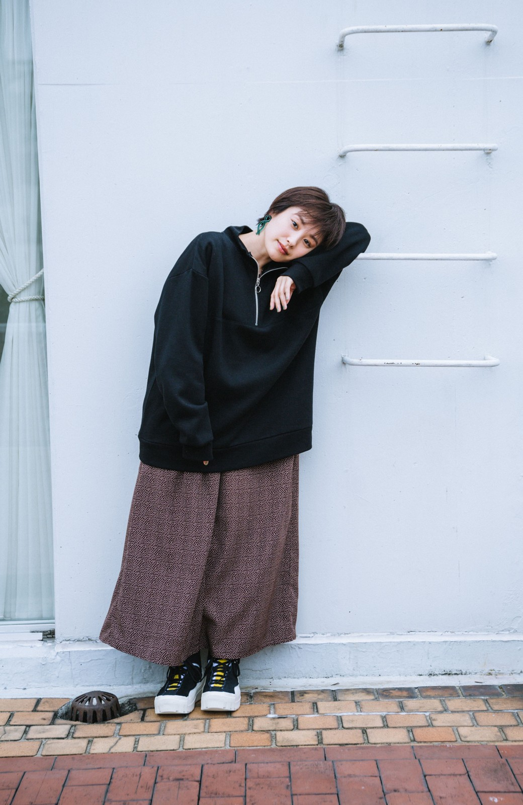 haco! 【高橋愛さんコラボ】スタンドカラーのアノラックスウェットトップス<メンズ> by LOVE&PEACE PROJECT <ブラック>の商品写真7