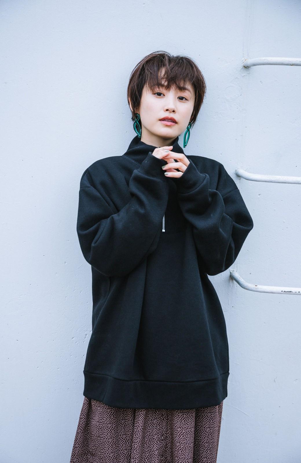 haco! 【高橋愛さんコラボ】スタンドカラーのアノラックスウェットトップス<メンズ> by LOVE&PEACE PROJECT <ブラック>の商品写真8