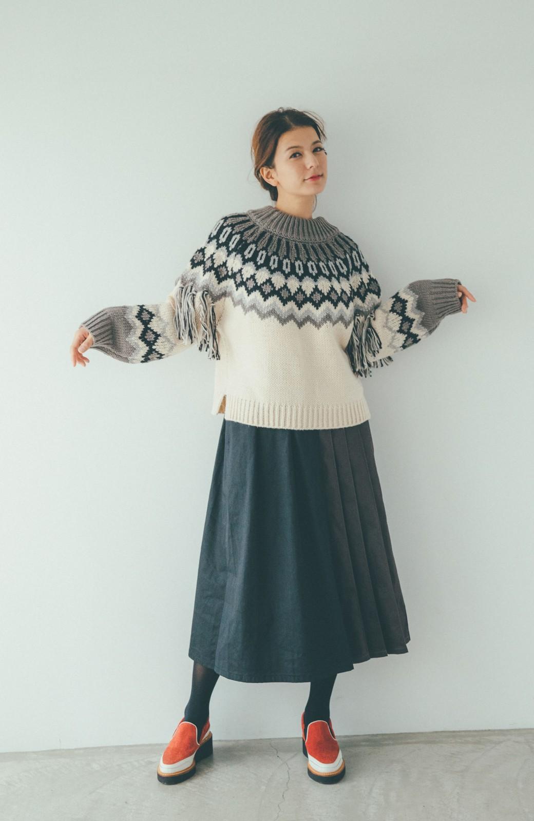 haco! 【スザンヌさんコラボ】配色プリーツのパネルスカート by LOVE&PEACE PROJECT <ブラック>の商品写真13