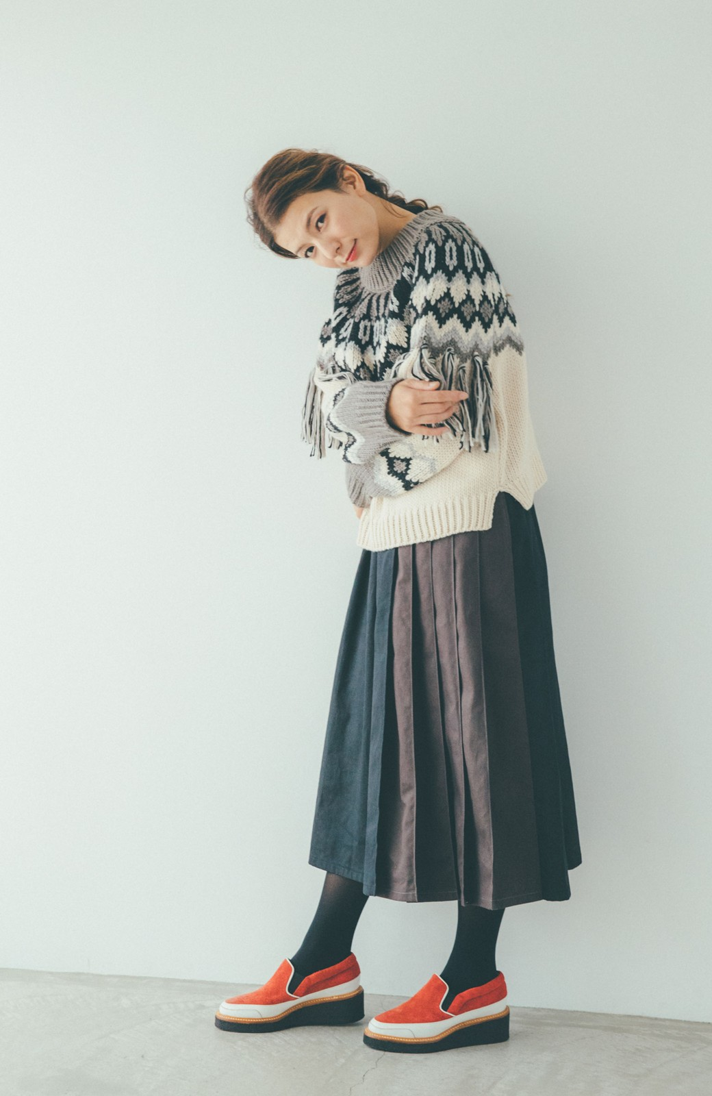 haco! 【スザンヌさんコラボ】配色プリーツのパネルスカート by LOVE&PEACE PROJECT <ブラック>の商品写真14