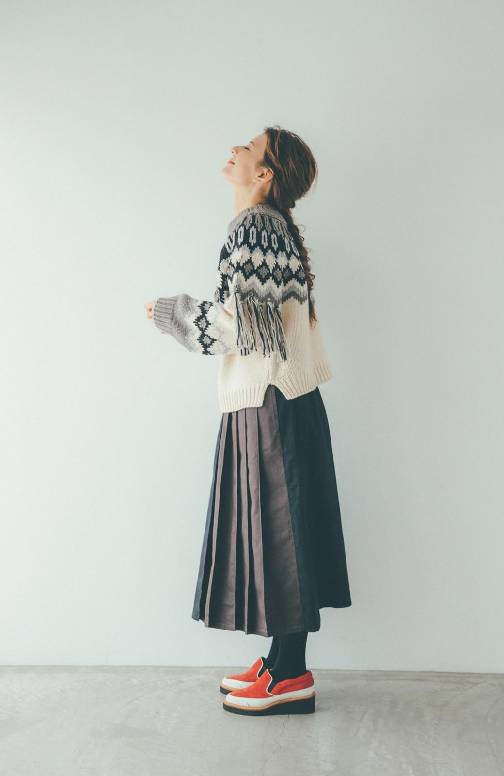 haco! 【スザンヌさんコラボ】配色プリーツのパネルスカート by LOVE&PEACE PROJECT <ブラック>の商品写真16