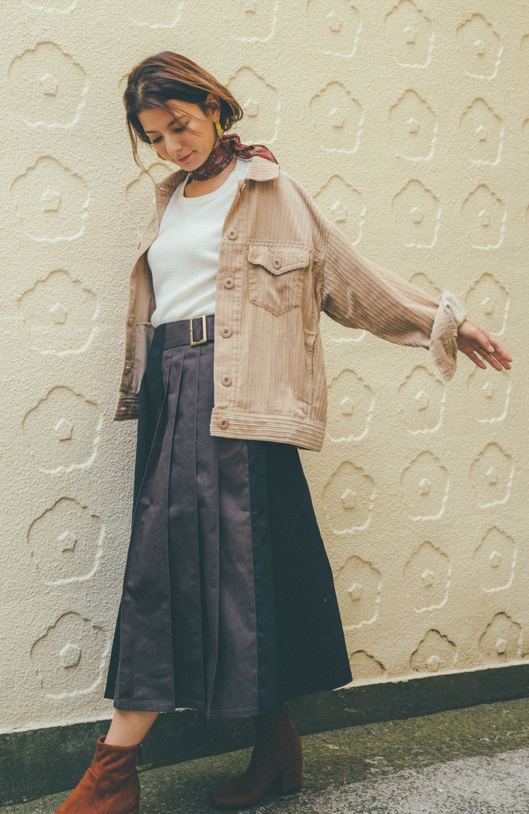 haco! 【スザンヌさんコラボ】配色プリーツのパネルスカート by LOVE&PEACE PROJECT <ブラック>の商品写真5