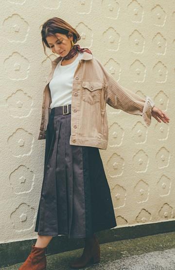 haco! 【スザンヌさんコラボ】配色プリーツのパネルスカート by LOVE&PEACE PROJECT <ブラック>の商品写真