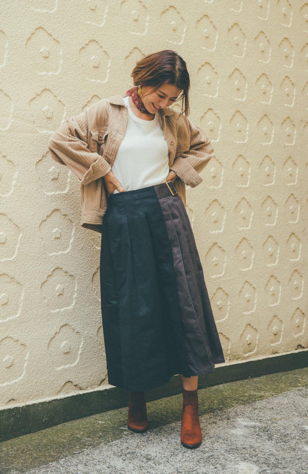 haco! 【スザンヌさんコラボ】配色プリーツのパネルスカート by LOVE&PEACE PROJECT <ブラック>の商品写真4