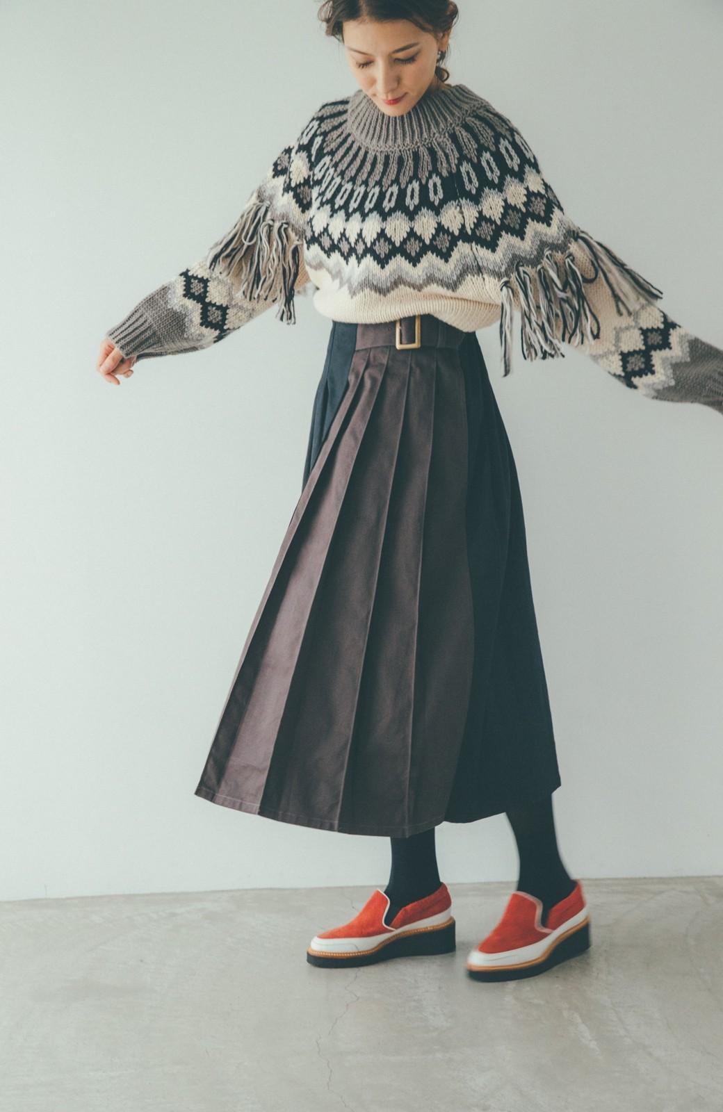haco! 【スザンヌさんコラボ】配色プリーツのパネルスカート by LOVE&PEACE PROJECT <ブラック>の商品写真9