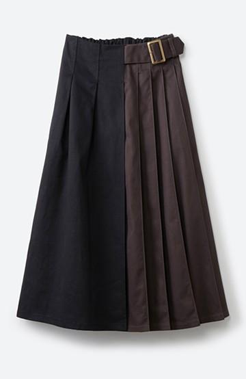 haco! 【スザンヌさんコラボ】配色プリーツのパネルスカート by LOVE&PEACE PROJECT<ブラック>の商品写真