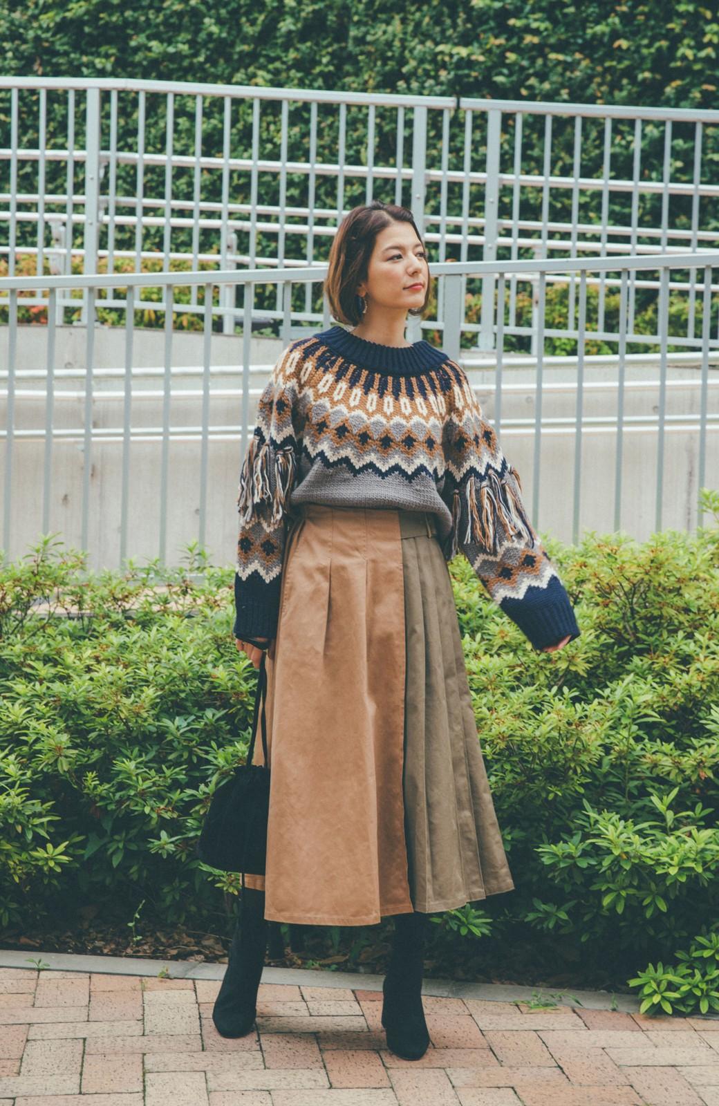 haco! 【スザンヌさんコラボ】配色プリーツのパネルスカート by LOVE&PEACE PROJECT <ベージュ>の商品写真14