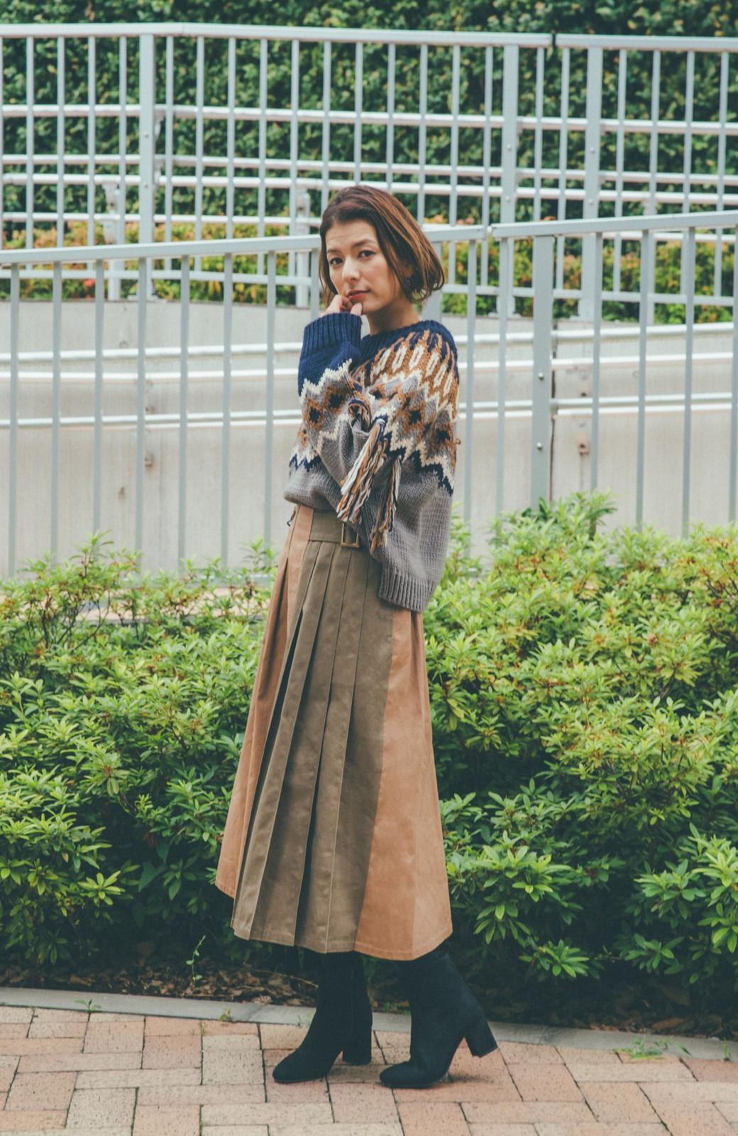 haco! 【スザンヌさんコラボ】配色プリーツのパネルスカート by LOVE&PEACE PROJECT <ベージュ>の商品写真15