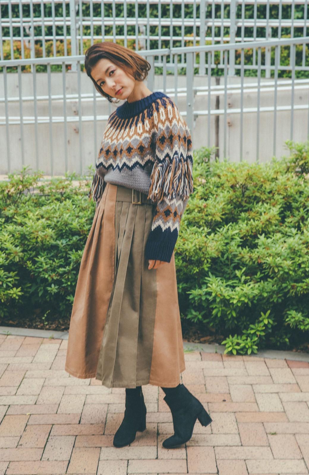 haco! 【スザンヌさんコラボ】配色プリーツのパネルスカート by LOVE&PEACE PROJECT <ベージュ>の商品写真16