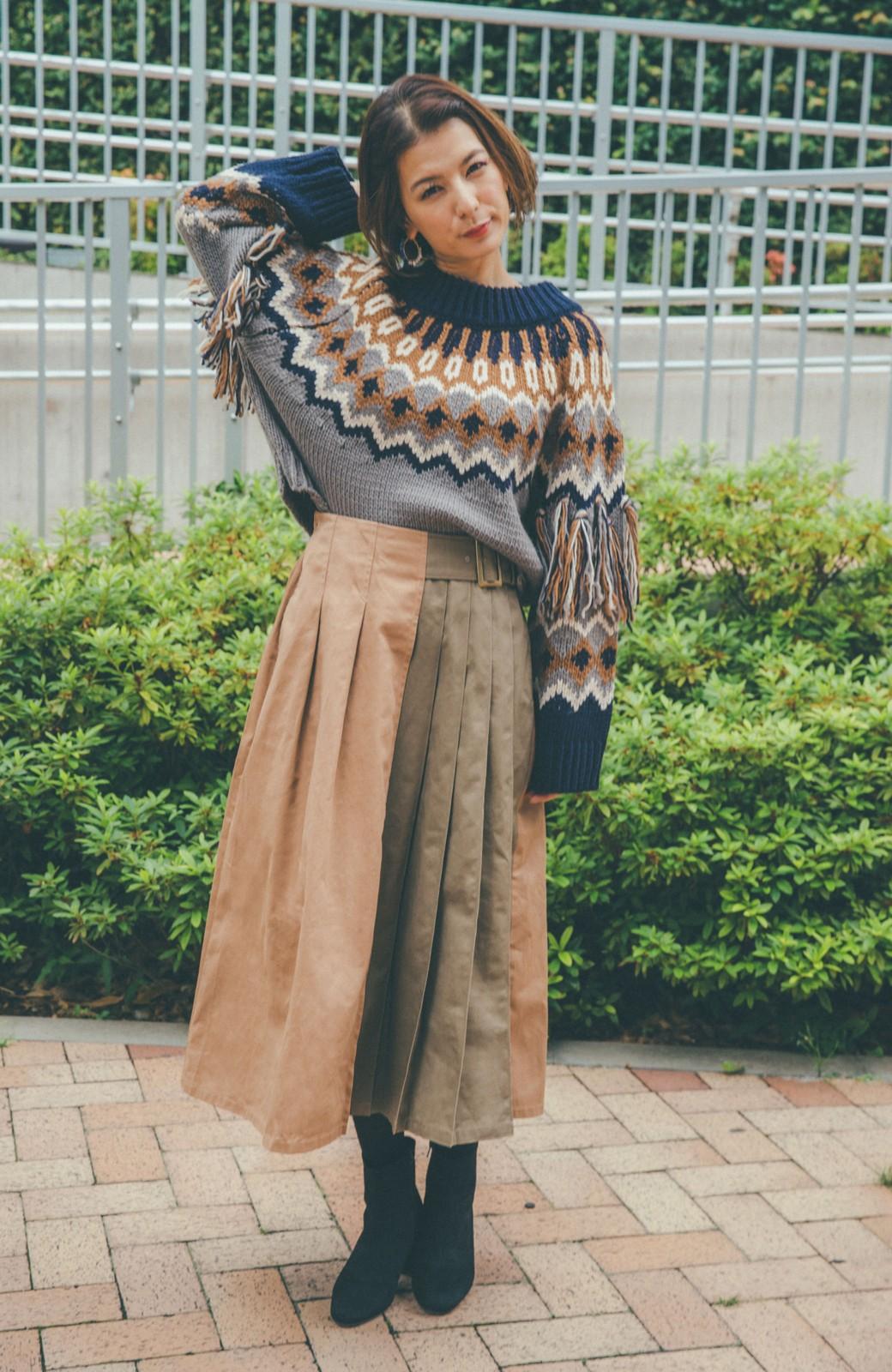 haco! 【スザンヌさんコラボ】配色プリーツのパネルスカート by LOVE&PEACE PROJECT <ベージュ>の商品写真17