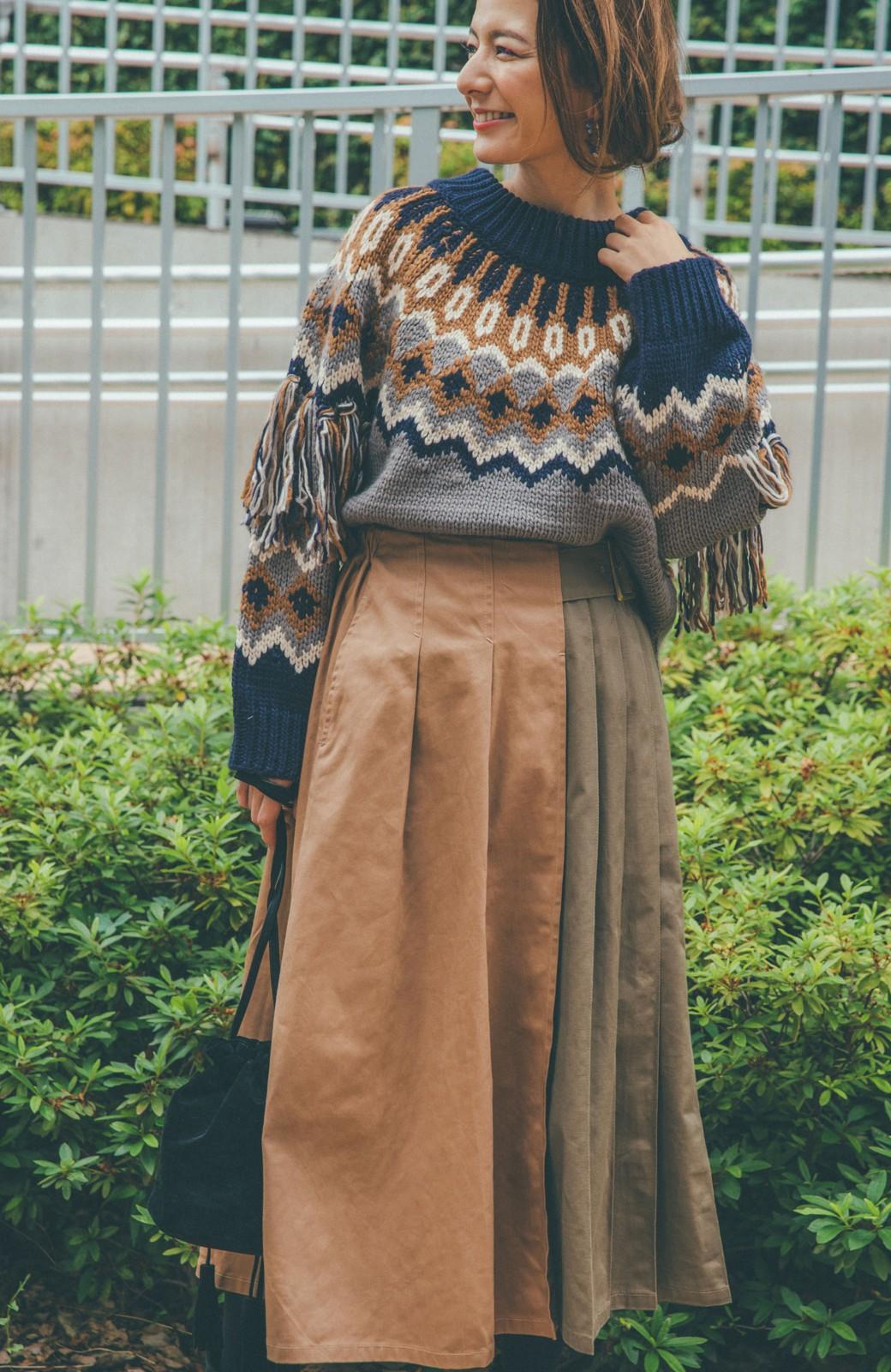 haco! 【スザンヌさんコラボ】配色プリーツのパネルスカート by LOVE&PEACE PROJECT <ベージュ>の商品写真2