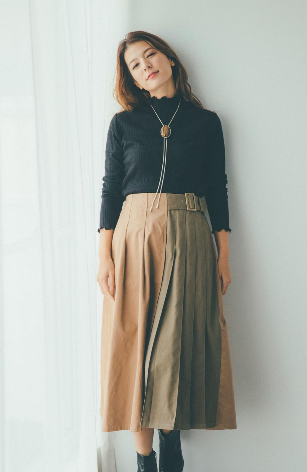 haco! 【スザンヌさんコラボ】配色プリーツのパネルスカート by LOVE&PEACE PROJECT <ベージュ>の商品写真3