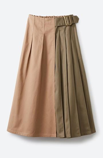 haco! 【スザンヌさんコラボ】配色プリーツのパネルスカート by LOVE&PEACE PROJECT <ベージュ>の商品写真