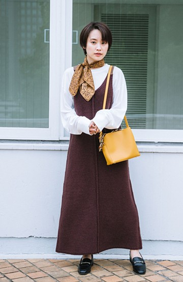 haco! 【高橋愛さんコラボ】ニットジャンパースカートとロングTシャツセット by LOVE&PEACE PROJECT <ブラウン>の商品写真