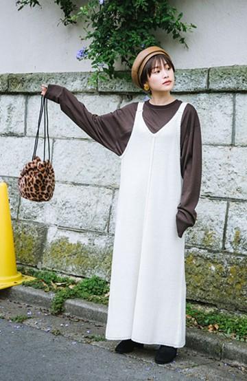 haco! 【高橋愛さんコラボ】ニットジャンパースカートとロングTシャツセット by LOVE&PEACE PROJECT<アイボリー>の商品写真