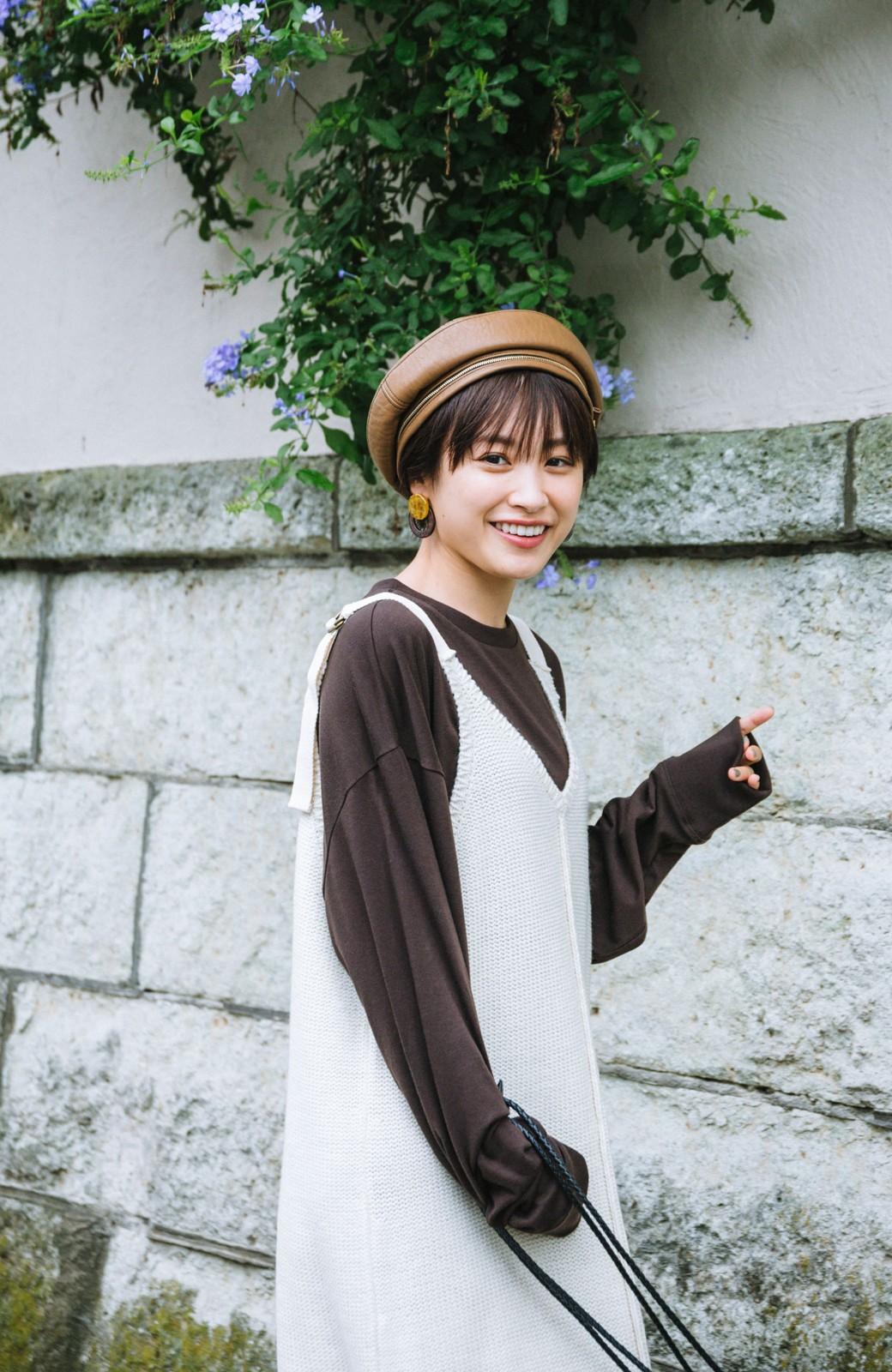 haco! 【高橋愛さんコラボ】ニットジャンパースカートとロングTシャツセット by LOVE&PEACE PROJECT <アイボリー>の商品写真9