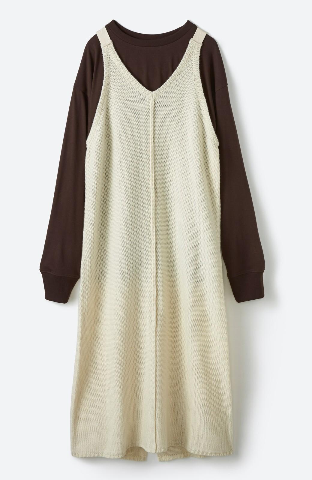 haco! 【高橋愛さんコラボ】ニットジャンパースカートとロングTシャツセット by LOVE&PEACE PROJECT <アイボリー>の商品写真4