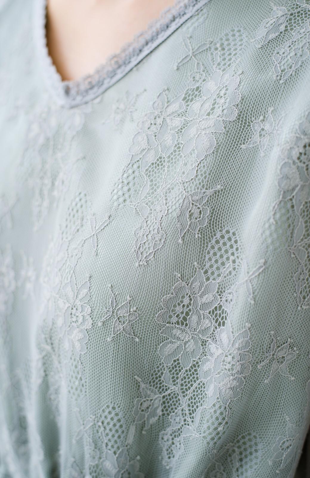 haco! 【結婚式】ずぼらさんでも安心 カジュアル派の大人のためのレースが華やかな女っぽワンピース <グリーン>の商品写真8