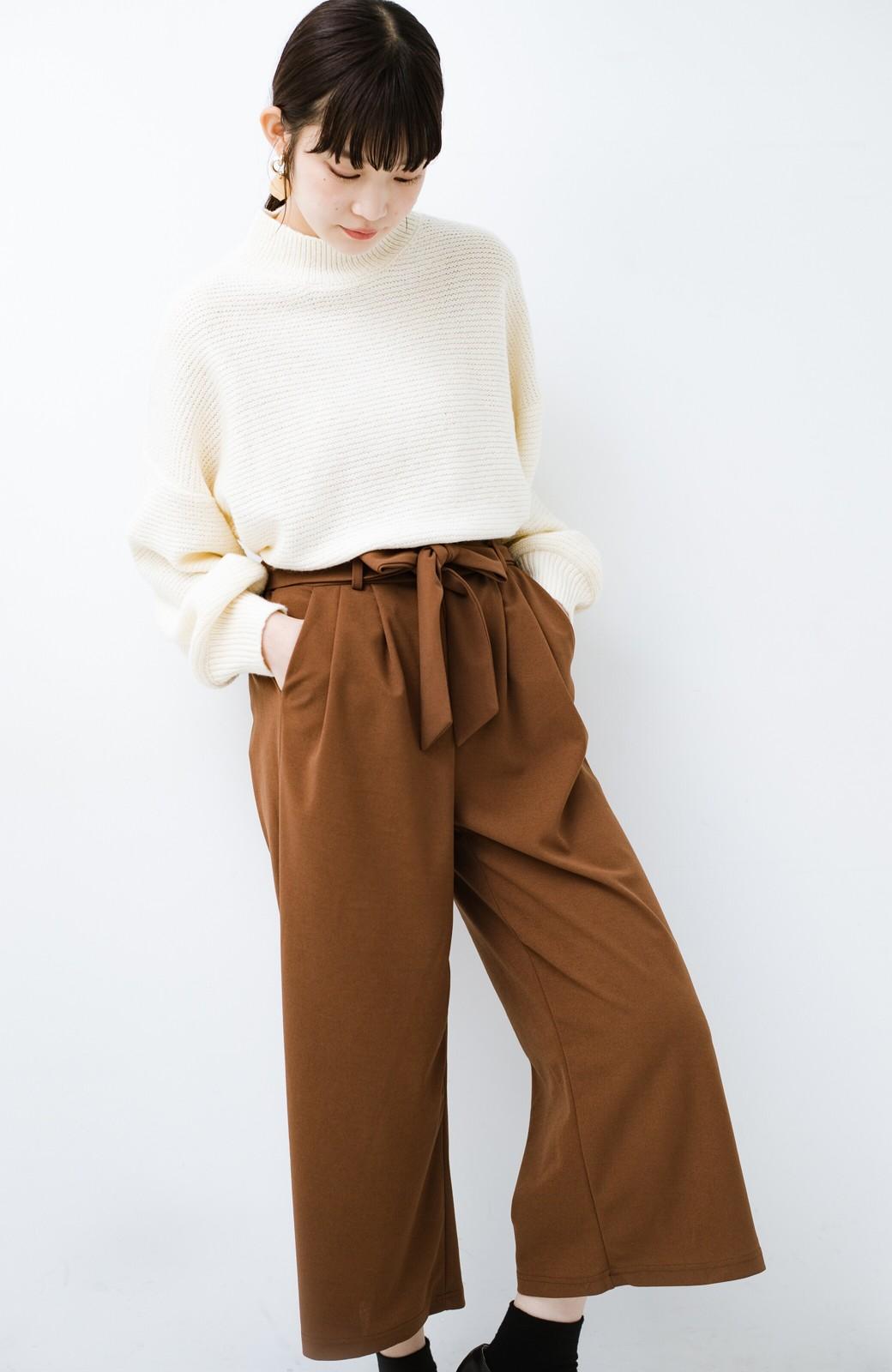 haco! きれいに見えて実は動きやすい!とにかく便利な短め丈パンツ by Nohea <ライトブラウン>の商品写真16